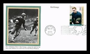 US COVER RED GRANGE EARLY FOOTBALL HEROES FDC NEW YORK YANKEES MYSTIC CACHET