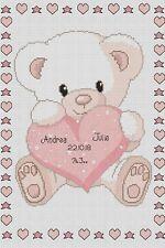Sampler de Nacimiento Bebé Osito con / Corazón Rosa Punto de Cruz Kit Completo #