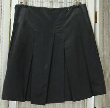 "FAHRI Pleated Mini Skirt UK12 32"" Waist Heavy Cotton Mix Black Satin Short Kilt"