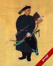 ANCIENT CHINESE MANCHU GUARD ARCHER ARCHERY PAINTING ART REAL CANVAS PRINT