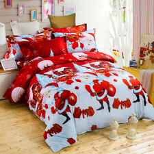 Santa Claus Duvet Doona Quilt Cover Set Queen Size Bed With Flat Sheet Christmas
