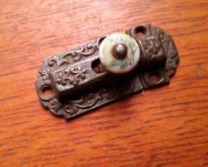 Antique Fancy Cast Victorian Iron & Porcelain Cabinet Latch Set c1885