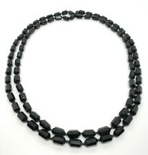 """Black Glass Mourning 56"""" Necklace Heavy Antique Victorian Hand Knotted Faceted"""