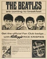 1964 Beatles Kellogg's Rice Krispies Cereal 12 x 15 Reproduction Poster Print Ad