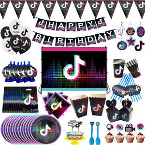 TIK TOK Geburtstag Party Hip Hop Dekor Teller Tischdecke Tassen Banner Ballon