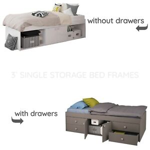 Child Teen or Adult Single Storage Cabin Bed with or without Drawers in Grey