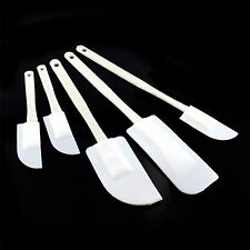 5 Pack White Spatulas Mixing Plastic Set Cooking Baking Kitchen Utensils Tools