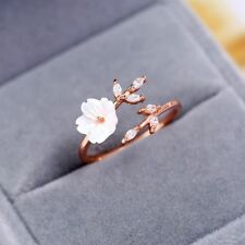 Adjustable Size Jewelry Zircon Crystal Leaf Shell Flower Opening Ring Rose Gold