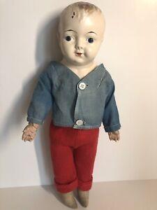 "Antique German (?) Unmarked 15"" Metal/Tin Head Cloth Body Boy Doll"