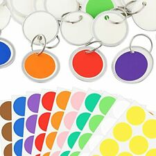 100 Pieces Round Shape Key Tags With 31 Mm Split Ring 10 Sheets Colorful Labe