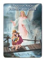 "Guardian Angel Vertical Plaque 4 1/2"" Tall (MP407) Art Metal With Easel"