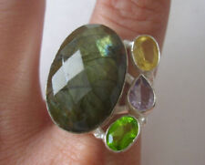 GORGEOUS Sterling Silver Faceted LABRADORITE PERIDOT AMETHYST CITRINE Ring Sz 9