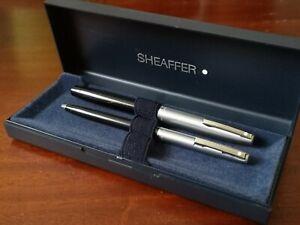 Sheaffer Imperial 440 Brush Steel Black Fountain Pen & Ball Point Boxed Set