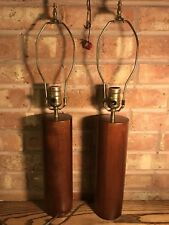 Pair Of Mid-Century Danish Teak Table Lamps - Sculptural Cylinders