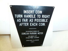 Duncan 60 Parking Meter Decal Instructions Plate