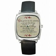 Serenity Prayer Words God Wisdom Courage Leather Square Watch New!