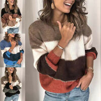 Women's Warm Striped Sweater Fall Winter O Neck Long Sleeve Loose Knit Pullover