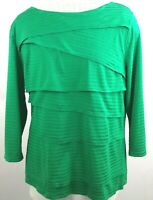 Chico's Women's Top/Tunic Tiered Front 3/4 Sleeve Scoop Neck Green Color Size 2.