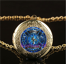 Firefighter Fire Fighter Glass Gold Plating Chain Locket Pendant Necklace