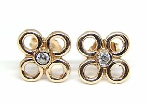 14 KT ROSE GOLD FLORAL MOTIF SMALL STUD EARRINGS WITH 0.10 CT DIAMONDS