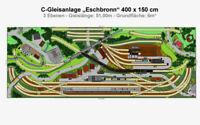 """GP4-0070 Märklin C-Gleis-Plan """"Eschbronn"""" 400x150 cm (DIN A4-Mappe Color)"""