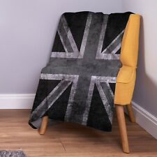 Grunge Black & White Union Jack Design Soft Fleece Throw Blanket