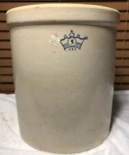 Vintage NOS 5 Gallon Blue Crown Crock