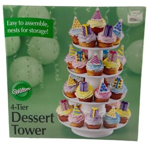 """Wilton 4-Tier Stacked Dessert Display Tower Stand 16"""" Tall Party Cupcakes"""