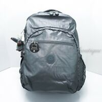NWT Kipling BP4371 Seoul XL Backpack Laptop Travel SchoolBag Steel Grey Metallic