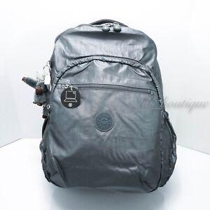 NWT Kipling BP4371 Seoul XL Backpack Laptop Travel SchoolBag Steel Grey Metallic