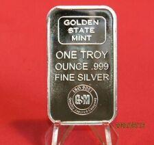 Golden State Mint 1 OZ Silver 999 bar in perfect fit Holder
