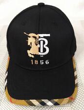 Burberry TB Black Baseball Hat Adjustable Buckle Casual Style Unisex