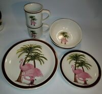 Totally Today Ceramic Pink Flamingo Palm Tree LOT OF 8 Dinner Luncheon Bowl Mugs