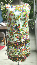 Vtg 70's Mod Janet Lynn Psychedelic Cotton Floral shift Dress With Pockets Sm
