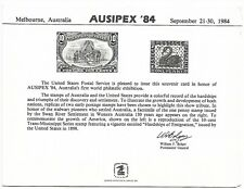 USA  Ausipex 84 Philatelic Exhibition Card Limited issue sold as per scans
