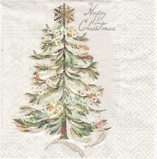 2 Serviettes en papier Sapin Noël Decoupage Paper Napkins Crystal Tree