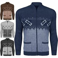 MENS ZIP UP GRANDDAD CARDIGAN CLASSIC ARGYLE KNITWEAR AZTEC TWO FRONT POCKET TOP
