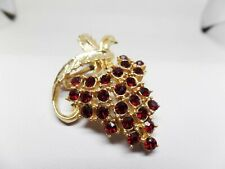 CORO SIGNED VINTAGE RED CRYSTAL GRAPE BROOCH