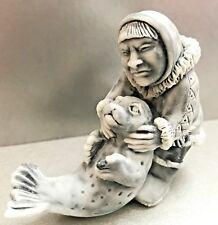 Woman and little seal Chukotka Alaska figurine marble chips Russia miniature