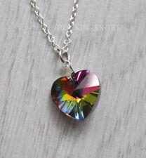 925 Silver Austrian Crystal Rainbow Heart Necklace Pendant Ladies Girls gift
