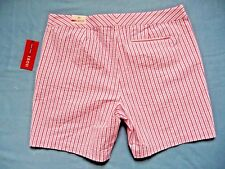 IZOD Shorts Ladies 10 NWT NEW $54 White Red Striped Cotton Textured