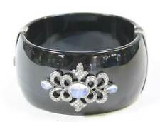 Black Bakelite Bangle Bracelet Sterling Silver Diamonds Moonstone