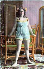 1910 Chubby Girl BBW Risque Lingerie Postcard AP