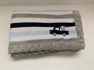 Child Mine Puppy Dog Truck Blue Gray White Stripe Baby Blanket Carters Carter's