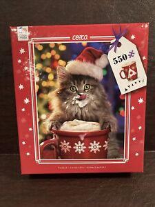 Ceaco Avanti Christmas Kitty Cat Drinking Hot Chocolate 550 Piece Puzzle