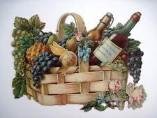 Beautiful Vintage Die Cut of Picnic Basket w/ Fruit, Bottles of Wine & Rose   *