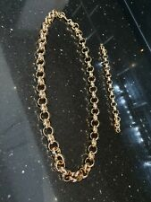Brand New Mens Gold Bonded 24ct Belcher Chain and Bracelet on sale limited time
