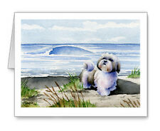 SHIH TZU AT THE BEACH Set of 10 Note Cards With Envelopes