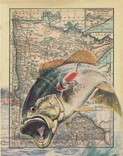 Bass Fishing Anglers Club Minnesota State Map Art Print Tournaments Lures MAP17