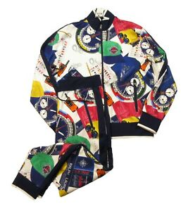 Polo Ralph Lauren Men's White Multi Ships Log Print Track Jacket & Pant 2 pc Set